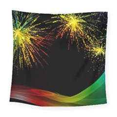 Rainbow Fireworks Celebration Colorful Abstract Square Tapestry (Large)