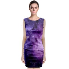 Purple Space Sleeveless Velvet Midi Dress