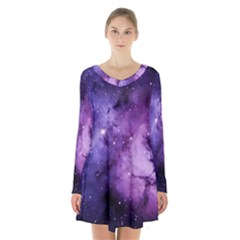 Purple Space Long Sleeve Velvet V Neck Dress
