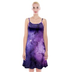 Purple Space Spaghetti Strap Velvet Dress