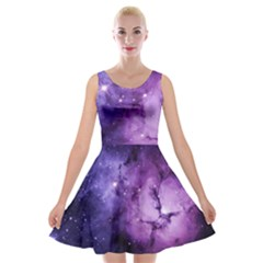 Purple Space Velvet Skater Dress