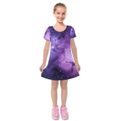 Purple Space Kids  Short Sleeve Velvet Dress