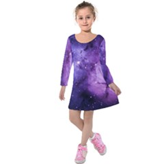 Purple Space Kids  Long Sleeve Velvet Dress