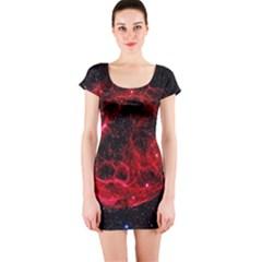 Red Nebulae Stella Short Sleeve Bodycon Dress