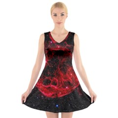 Red Nebulae Stella V-Neck Sleeveless Skater Dress