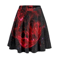 Red Nebulae Stella High Waist Skirt