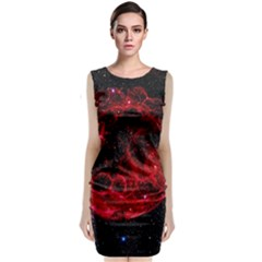 Red Nebulae Stella Sleeveless Velvet Midi Dress