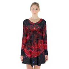 Red Nebulae Stella Long Sleeve Velvet V Neck Dress