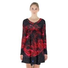 Red Nebulae Stella Long Sleeve Velvet V Neck Dress