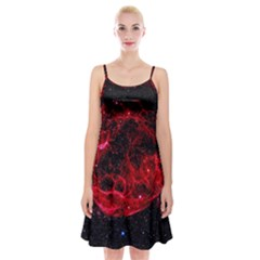 Red Nebulae Stella Spaghetti Strap Velvet Dress
