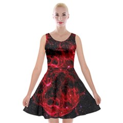 Red Nebulae Stella Velvet Skater Dress