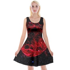Red Nebulae Stella Reversible Velvet Sleeveless Dress