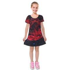 Red Nebulae Stella Kids  Short Sleeve Velvet Dress
