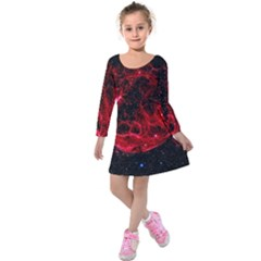 Red Nebulae Stella Kids  Long Sleeve Velvet Dress