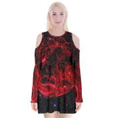 Red Nebulae Stella Velvet Long Sleeve Shoulder Cutout Dress