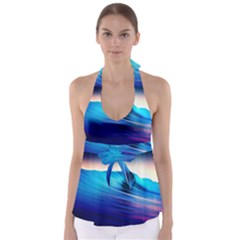 Rolling Waves Babydoll Tankini Top