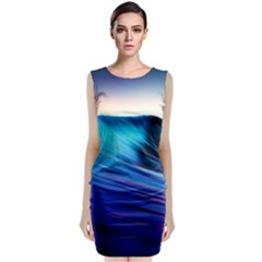 Rolling Waves Sleeveless Velvet Midi Dress