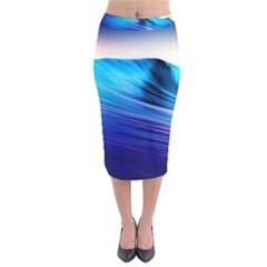 Rolling Waves Velvet Midi Pencil Skirt