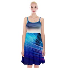 Rolling Waves Spaghetti Strap Velvet Dress