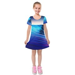 Rolling Waves Kids  Short Sleeve Velvet Dress