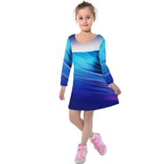 Rolling Waves Kids  Long Sleeve Velvet Dress