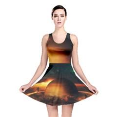 Saturn Rings Fantasy Art Digital Reversible Skater Dress