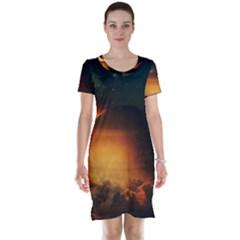Saturn Rings Fantasy Art Digital Short Sleeve Nightdress