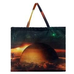 Saturn Rings Fantasy Art Digital Zipper Large Tote Bag
