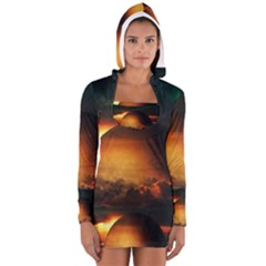 Saturn Rings Fantasy Art Digital Women s Long Sleeve Hooded T-shirt