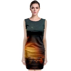 Saturn Rings Fantasy Art Digital Sleeveless Velvet Midi Dress