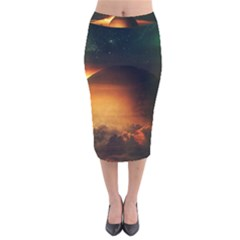 Saturn Rings Fantasy Art Digital Velvet Midi Pencil Skirt