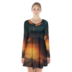 Saturn Rings Fantasy Art Digital Long Sleeve Velvet V Neck Dress