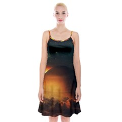 Saturn Rings Fantasy Art Digital Spaghetti Strap Velvet Dress