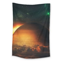 Saturn Rings Fantasy Art Digital Large Tapestry