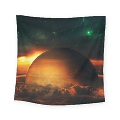 Saturn Rings Fantasy Art Digital Square Tapestry (small)