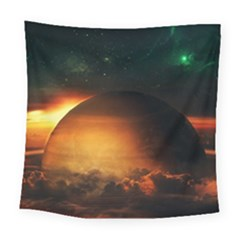 Saturn Rings Fantasy Art Digital Square Tapestry (Large)