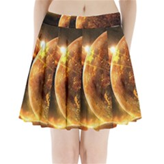 Sci Fi Planet Pleated Mini Skirt