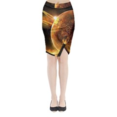 Sci Fi Planet Midi Wrap Pencil Skirt