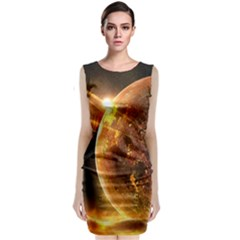 Sci Fi Planet Sleeveless Velvet Midi Dress