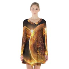 Sci Fi Planet Long Sleeve Velvet V Neck Dress