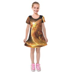Sci Fi Planet Kids  Short Sleeve Velvet Dress
