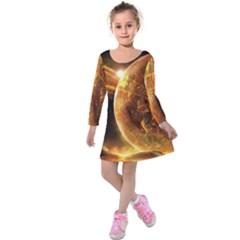 Sci Fi Planet Kids  Long Sleeve Velvet Dress