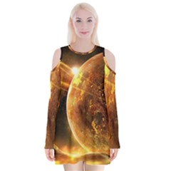 Sci Fi Planet Velvet Long Sleeve Shoulder Cutout Dress