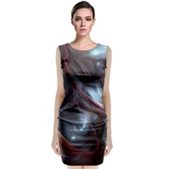 Shells Around Tubes Abstract Sleeveless Velvet Midi Dress