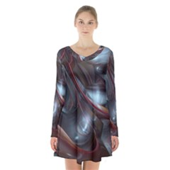 Shells Around Tubes Abstract Long Sleeve Velvet V Neck Dress