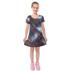 Shells Around Tubes Abstract Kids  Short Sleeve Velvet Dress