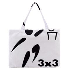 3 on 3 Basketball Pictogram Medium Zipper Tote Bag