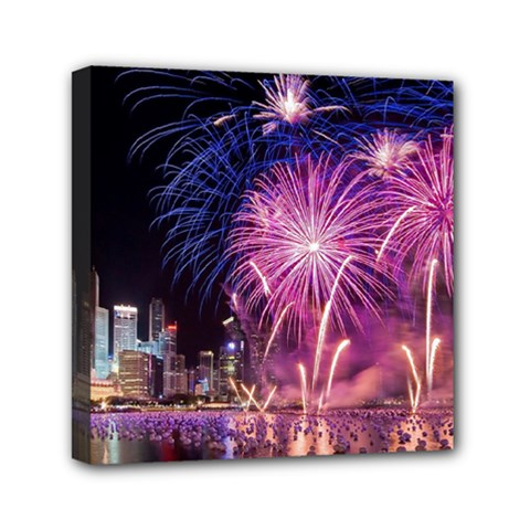 Singapore New Years Eve Holiday Fireworks City At Night Mini Canvas 6  X 6