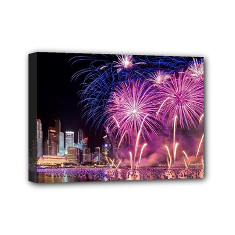 Singapore New Years Eve Holiday Fireworks City At Night Mini Canvas 7  X 5