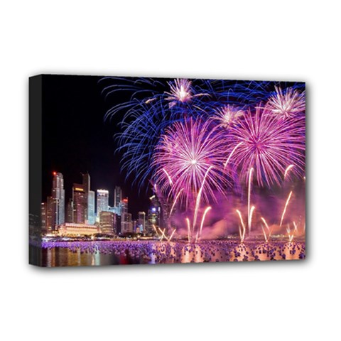 Singapore New Years Eve Holiday Fireworks City At Night Deluxe Canvas 18  X 12